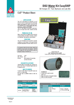 Oil analysis kits used for measuring and monitoring oil