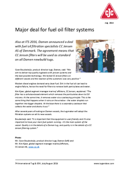 MARINE, Major deal for fuel oil filter systems_Int. Tug & OSV, July-August 2016