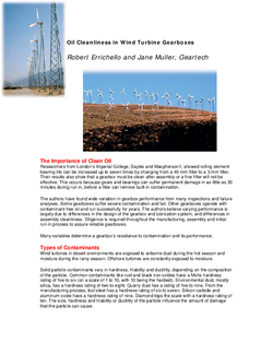 WIND_Oil cleanliness in wind turbine gearboxes